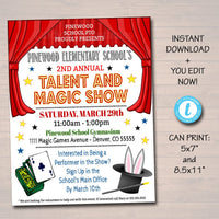 EDITABLE Talent Show Flyer, Printable PTA PTO Flyer, School Church Benefit Fundraiser Event Poster, Digital Magic Party Printable Invitation