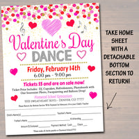 Valentine's Day Dance Set School Dance Flyer Party Invite, Church Community Event, Sweetheart Dance, pto pta,