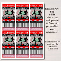 EDITABLE Track Ticket Valentine's Day Cards, INSTANT DOWNLOAD, Printable Runner Kids Valentine, Classroom Valentine, You Make My Heart Race!