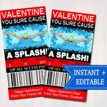 EDITABLE Swimmer Ticket Valentine's Day Cards, INSTANT DOWNLOAD, Printable Kids Valentine, Swimming Classroom Valentine, You Cause A Splash!