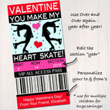 EDITABLE Ice Skating Ticket Valentine's Day Cards, INSTANT DOWNLOAD, Printable Kids Valentine, Girl Classroom Valentine, Make My Heart Skate
