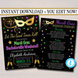 EDITABLE Mardi Gras Bachelorette Party Invitation, Glitter Green Purple Gold Invite, New Orleans Girls Weekend Itinerary, INSTANT DOWNLOAD