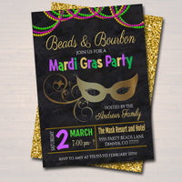 EDITABLE Mardi Gras Bachelorette Party Invitation, Glitter Green Purple Gold Invite, Beads and Bourbon, New Orleans, INSTANT DOWNLOAD