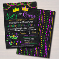 Mardi Gras Gender Reveal Party Invitation, Green Purple Gold Invite Baby Shower Sprinkle King or Queen New Orleans