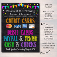 EDITABLE Credit Card Sign, Fundraising Booth, Bake Sale, Cookie Booth Sign We Accept Credit Cards Scouts Cookie Banner, Cookie Booth Poster