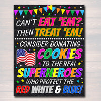 Cookie Booth Sign, Can't Eat Them Treat Them Donate Cookies For Military Troops, Superhero Printable Cookie Drop Banner INSTANT DOWNLOAD