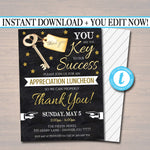 Editable Appreciation Invitation, Grateful For You Teacher Staff Invitation, Chalkboard Printable, Boss Client Thank You, INSTANT DOWNLOAD