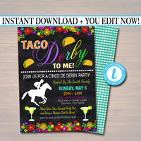 Editable Cinco De Derby Fiesta Nacho Average Derby De Mayo Invitation Chalkboard Printable Invite, Talk Taco Derby to Me, INSTANT DOWNLOAD