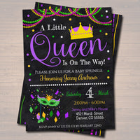 "Mardi Gras Girl Baby Shower Party Invitation ""We've Got the Baby Sprinkle, A Little Queen is On Her Way"""
