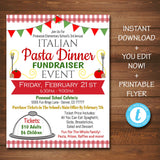 Spaghetti Dinner Fundraiser Flyer - Italian Pasta Dinner Benefit - DIY Editable Template