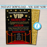 Editable Teacher Appreciation Staff Invitation, Chalkboard Printable, Appreciation Week Invite, Breakfast Luncheon Flyer, INSTANT DOWNLOAD