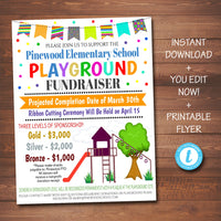 EDITABLE Playground Fundraiser Flyer, pto pta, Church Community School Benefit Event, Kid's School Daycare Park Benefit, INSTANT DOWNLOAD