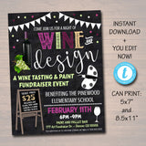 Wine Tasting Flyer,  School Paint and Pallet Flyer, Fundraiser Creative Art School Event, Printable pta pto