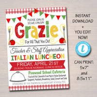 Editable Italian Teacher Appreciation Staff Invitation, Printable Spaghetti Invite, Appreciation Week Idea, Luncheon Flyer, INSTANT DOWNLOAD