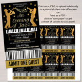 EDITABLE Jazz Benefit Fundraiser Invitation/Flyer/Ticket Set Digital Invite, Concert Music Invitation, Pto Pta School Event INSTANT DOWNLOAD
