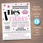 Daddy Daughter Dance Set School Dance Flyer Party Invitation Ties & Tiaras Event Church Community Event, pto, pta,