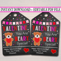 EDITABLE Valentine You Are Beary Special Gift Tags, Teacher Friend Kids Classroom, Printable Valentine Gummy Bear Treat Tag INSTANT DOWNLOAD