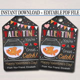 EDITABLE Valentine Goldfish Tag, You Are a Great Catch, Teacher Friend Kids Classroom, Printable Valentine Treat Tag Label, INSTANT DOWNLOAD