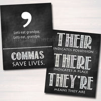 Set of 8 English Grammar Punctuation Posters, Classroom Grammar Art  Classroom Decor, High School English Teacher Printables