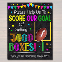 EDITABLE Cookie Booth Fundraiser Goal Poster, Cookie Booth Sign, INSTANT DOWNLOAD School Team Football Goal, Scout Printable, Cookie Banner
