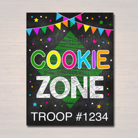 Cookie Booth Sign, Cookie Zone Sign, Printable Cookie Drop Banner, Cookie Booth Poster, Cookie Sale, INSTANT DOWNLOAD Fundraiser Booth Idea