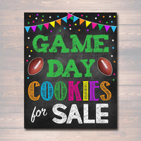 Printable Cookie Booth Sign, Football Game Day Cookies For Sale, Cookie Poster, Digital Superbowl Cookie Booth Decor Banner INSTANT DOWNLOAD