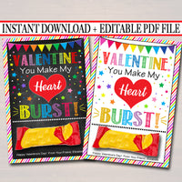 EDITABLE You Make My Heart Burst Valentine's Day Cards, INSTANT DOWNLOAD, Printable Kids Classroom Valentine, Candy Starburst Digital Tags