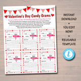 EDITABLE Valentine's Day Candy Gram Flyer, School Fundraiser Template, Valentine School Church Community Event, Pto Pta, INSTANT DOWNLOAD