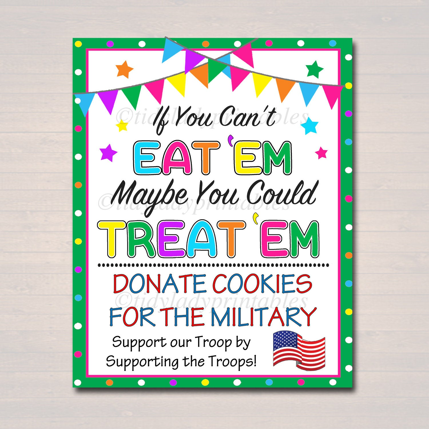 Instant Download Cookie Booth Poster Cookie Booth Sign Printable Donate Cookies for Military Troops If You Can/'t Eat/'em Treat/'em