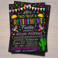 Fiesta Retirement Invitation, Chalkboard Printable Teacher Retirement Taco Nacho Invite, Nurse Mexican Fiesta,
