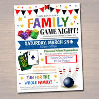 Family Game Night Flyer - School Church Benefit Fundraiser Event Poster - DIY Editable Template