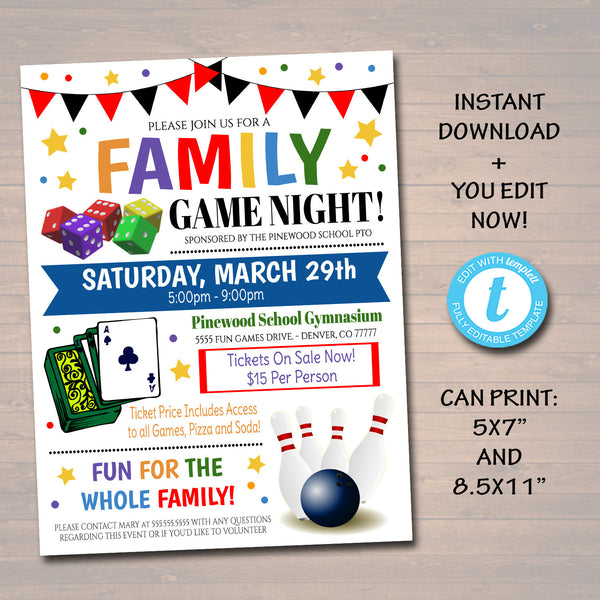EDITABLE Family Game Night Flyer, Printable PTA PTO Flyer, School Church Benefit Fundraiser Event Poster Digital Party Printable Invitation