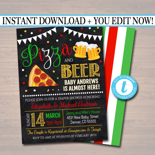 Editable Pizza and Beer Baby Shower Invitation Chalkboard Printable Baby Sprinkle Italian Theme Couples Shower Party Invite INSTANT DOWNLOAD
