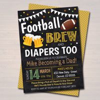 Editable Football and Beer Baby Shower Invitation Chalkboard Printable Baby Sprinkle, Big Game Couples Shower Party Invite INSTANT DOWNLOAD