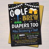 Editable Golf and Beer Baby Shower Invitation Chalkboard Printable Baby Sprinkle, Couples Man Diaper Shower Party Invite, INSTANT DOWNLOAD