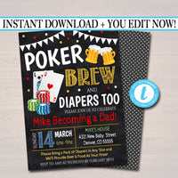 Editable Poker and Beer Baby Shower Invitation Chalkboard Printable Baby Sprinkle Card Games Couples Shower Party Invite INSTANT DOWNLOAD