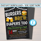 Editable Burgers and Beer Baby Shower Invitation Chalkboard Printable Baby Sprinkle BBQ Grill Couples Shower Party Invite INSTANT DOWNLOAD