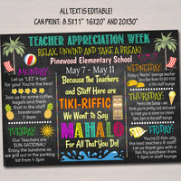 EDITABLE Beach Themed Teacher Appreciation Week Itinerary Poster Hawaiian Theme Appreciation Week Schedule Events INSTANT DOWNLOAD Printable