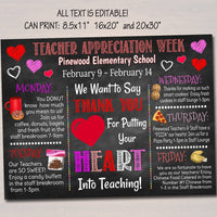 Valentine's Day Teacher Appreciation Week Itinerary Poster Heart Theme Appreciation Week Schedule Events  Printable