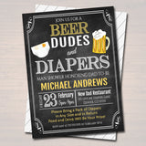 Editable Man Shower Baby Invitation Chalkboard Printable Beer Dudes and Diapers Party Invite Diaper Shower, Baby is Brewing INSTANT DOWNLOAD