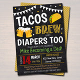 Editable Tacos and Beer Baby Shower Invitation Chalkboard Printable Baby Sprinkle Fiesta Couples Shower Party Invite INSTANT DOWNLOAD