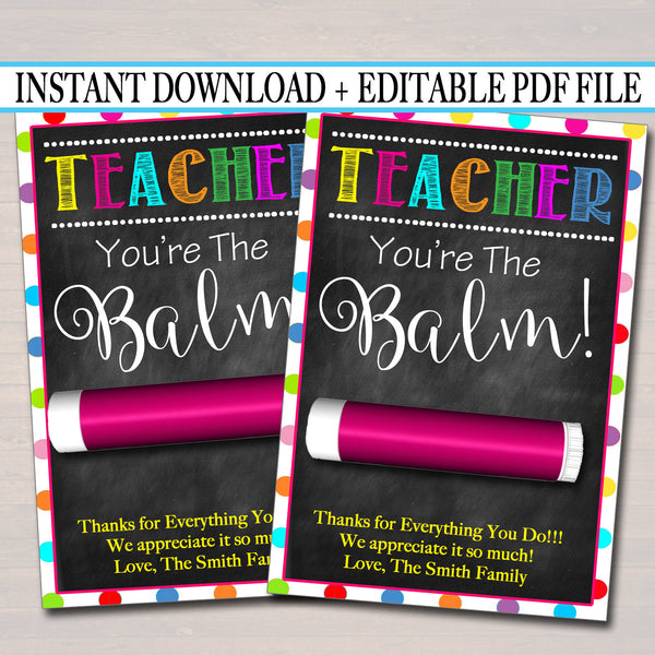 photograph regarding You're the Balm Printable titled EDITABLE Lip Balm Tags, Finish of College or university Calendar year Instructor Present Immediate Down load Printable Instructor Appreciation Trainer Youre the Balm Electronic Card