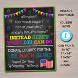 Fundraiser Cookie Booth Sign, If You Can't Eat Em' Treat Em, Donate Cookies For Military Troops Custom Cookie Drop