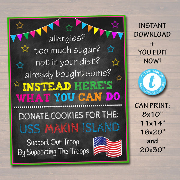 EDITABLE Fundraiser Cookie Booth Sign, If You Can't Eat Em' Treat Em, Donate Cookies For Military Troops Custom Cookie Drop INSTANT DOWNLOAD