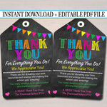 Thank You Teacher & Staff Appreciation Printable Tag