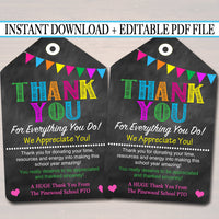 EDITABLE Thank You Tags, Teacher Appreciation Thank You Note, INSTANT DOWNLOAD Printable Chalkboard Tags, Volunteer Staff Thank You Cards