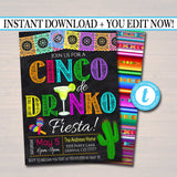 Editable Cinco De Drinko Fiesta Invitation Chalkboard Printable Adult Birthday Party, Mexican Cinco De Mayo Party Invite, INSTANT DOWNLOAD