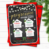 Holiday Progressive Dinner Party Invitation, Christmas Potluck Party Invite Chalkboard Printable, Xmas Round Robin