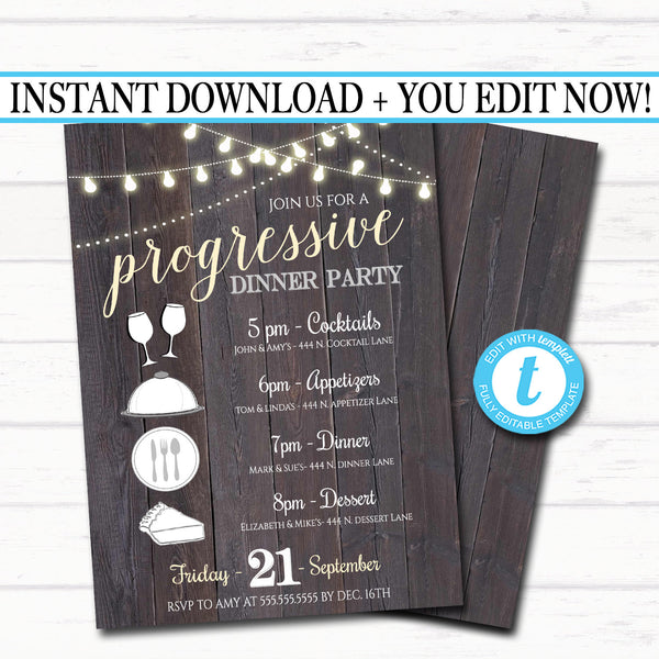 Editable Progressive Dinner Party Invitation, Neighborhood Potluck Party Invite, Rustic Wood Printable, House Round Robin, INSTANT DOWNLOAD