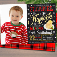 EDITABLE Flannel and Flapjacks Birthday Invite, Pancakes and Pajamas Xmas Party Invitation, Christmas Holiday Brunch Digital Plaid Invite